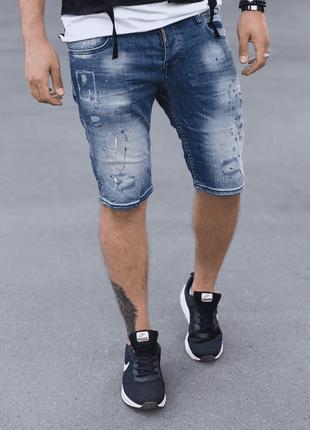 Мужские джинсовые шорты intelligence синего цвета