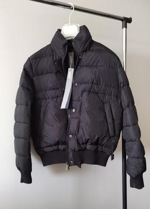 Новый пуховик add италия куртка бомбер на пуху адд оригинал чёрный короткий пуффер