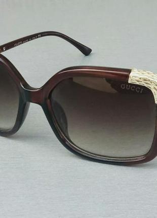 Gucci очки женские солнцезащитные коричневые с золотыми вставками с градиентом