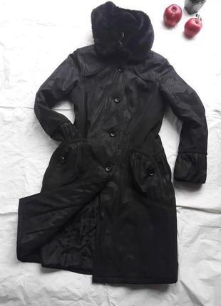 Элегантное пальто зимнее с капюшоном\ красивый пошив \ р-р.48-50 укр.