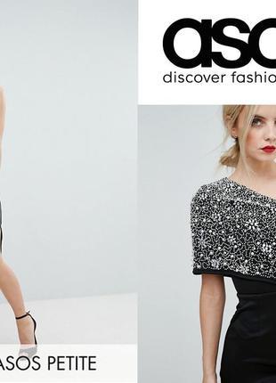 Роскошное платье миди на одно плечо asos uk4-6, eu 34, xs