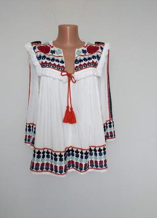 Zara блуза-накидка.  с вышивкой