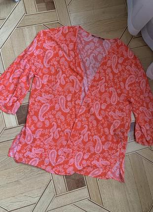 Легкая накидка esmara размер 50 -52 пляжный кардиган корал, пляж, узор