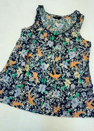 Летняя хлопковая блуза с принтом птицы f&f