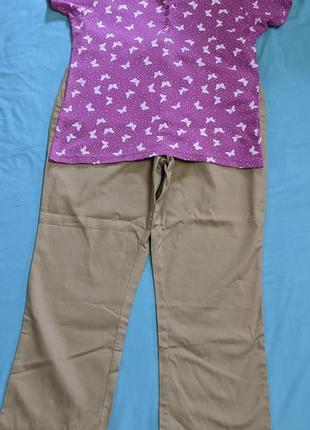 Комплект: брюки casual+футболка поло! р.16(48-50)!!
