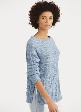 Polo ralph lauren голубой льняной свитер косами