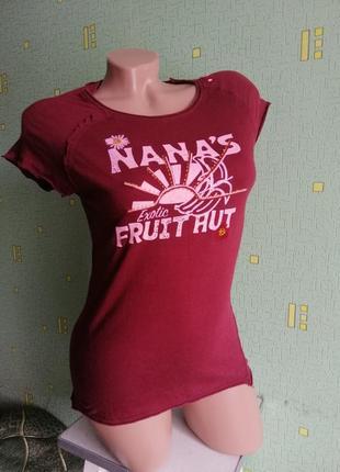 Хлопковая бордовая летняя футболка yes or no. 100%коттон