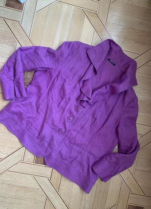 Льняной пиджак жакет frank walder фиолетовый d 48, us 18, лен сиреневый большой размер