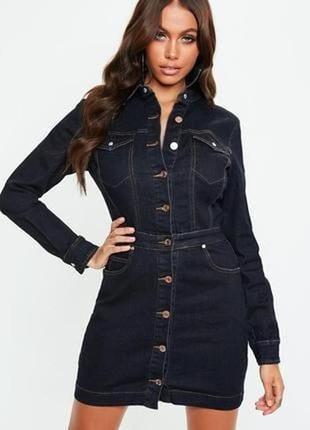 Джинсовое платье на пуговицах missguided размер uk6/34 (s) темно-синееl