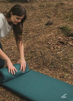 Коврик самонадувной туристический самонадувний килимок easy camp self-inflating lite mat single 3.8 cm зелений 300054