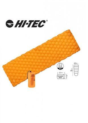 Коврик туристический надувной надувний килимок hi-tec airmat 190x60 оранжевий ht-airmat190-orange