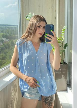 Небесно голубая блуза в горох 1+1=3