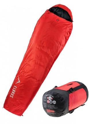 Спальный мешок туристический спальний мішок elbrus carrylight 800 220 чорний з червоним elbs-сrlt800-blkrd