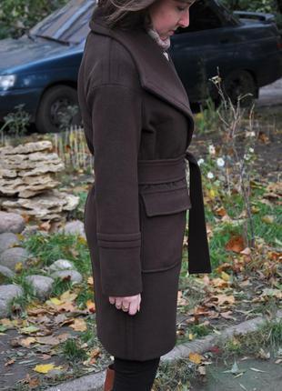 Шоколадное демисезонное пальто x-woyz