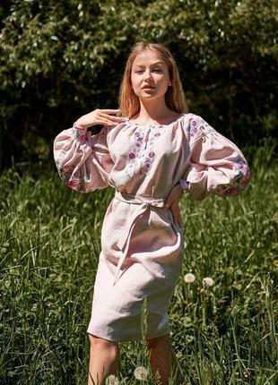 Акция! льняная вышиванка в стиле бохо вишиванка вишита сукня вышитое платье на 100% льне