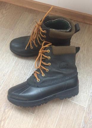 Канадские, кожаные, зимние, тёплые, водонепроницаемые ботинки sorel