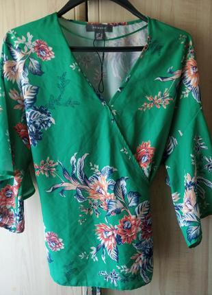 Стильная блуза с широким рукавом,цветочнй ,яркий принт,