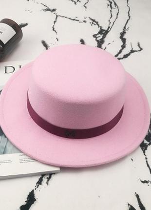 Шляпа женская канотье maison michel розовая