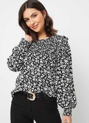 Натуральная блуза в цветочный принт 18/52-54 размера сток