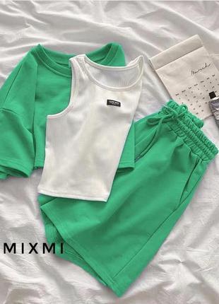 Костюм тройка топ , шорты и укорочённая футболка в цветах в наличии
