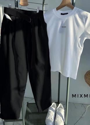 Стильный летний костюм футболка и штаны в цветах в наличии