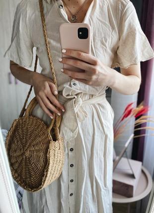 Льняное платье eco линейки reserved