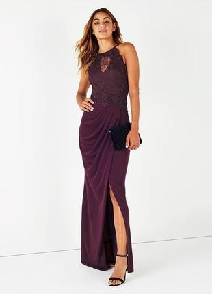 Распродажа!!! роскошное вечернее силуэтное платье с кружевом №124