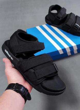 Топовые мужские летние сандали босоножки  adidas чёрные шлёпанцы