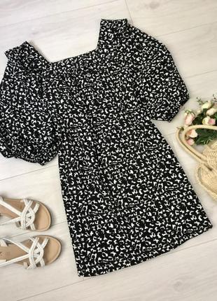 Чёрное платье в принт george, размер 8-10
