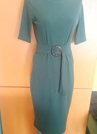 Платье миди рубчик. цвет хаки.