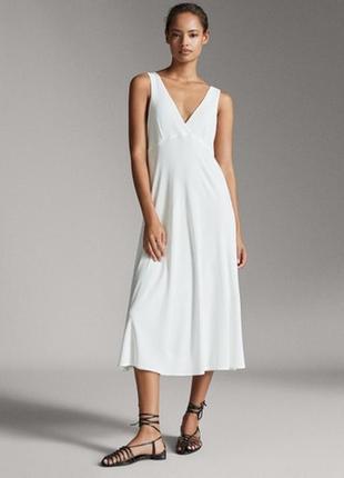 Летнее белое платье massimo dutti