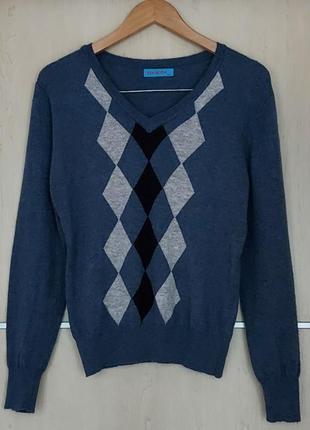 Шерстяной свитер с ромбами ren moda