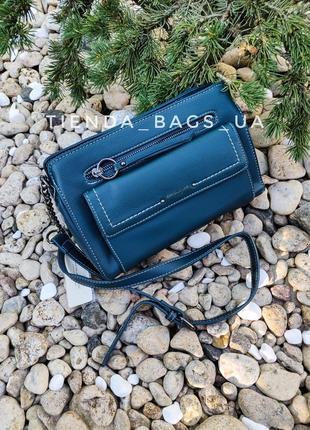 Клатч david jones td004 d. green (т. бирюзовый) / сумка через плечо с цепочкой на ремешке