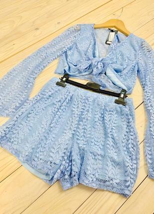 Красивые летний голубой кружевной комплект шорты топ и чокер l&l by asos