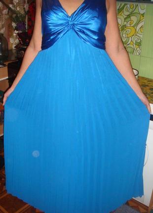 Длинное синие платье вечернее