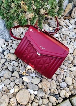Клатч david jones 6142-1t dark red (красный) / стеганая сумка через плечо на два отделения