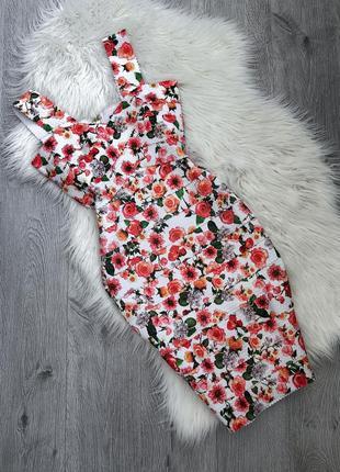 Бандажное платье в цветочный принт