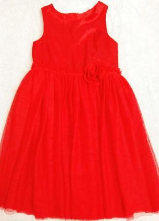 Нарядное красное платье h&m c пышной юбкой
