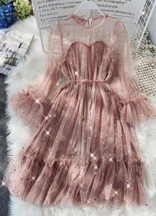 Мерцающие гипюровое платье с поясом ❤️