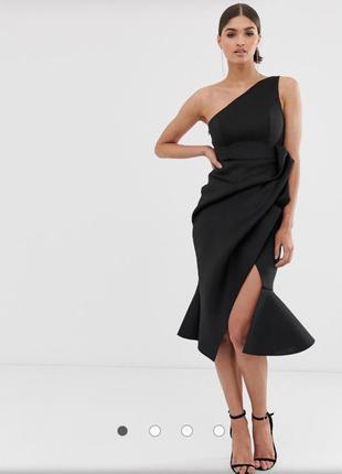 Платье миди на одно плечо со сборками на одном плече asos design