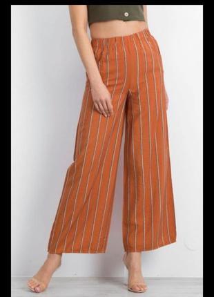 Стильные льняные(57%) с вискозой штанишки,брюки кэжуал