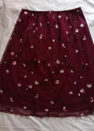 Юбка винтажная идеальная в сеточку марсала бордовая