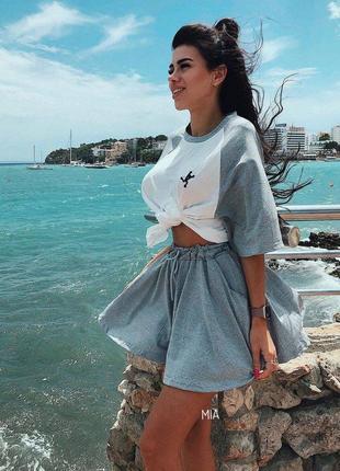 Трикотажный костюм футболка + юбка - шорты