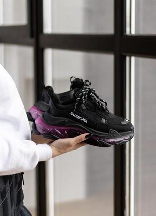 Triples sneaker black neon purple женские кроссовки чёрные/фиолетовые жіночі чорні фіолетові кросівки