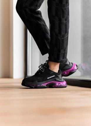 Triples sneaker black neon purple женские кроссовки чёрные/фиолетовые жіночі чорні фіолетові кросівки7 фото