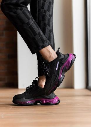 Triples sneaker black neon purple женские кроссовки чёрные/фиолетовые жіночі чорні фіолетові кросівки5 фото
