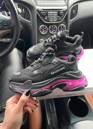 Triples sneaker black neon purple женские кроссовки чёрные/фиолетовые жіночі чорні фіолетові кросівки10 фото
