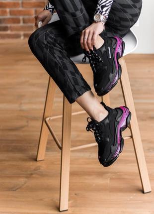 Triples sneaker black neon purple женские кроссовки чёрные/фиолетовые жіночі чорні фіолетові кросівки3 фото