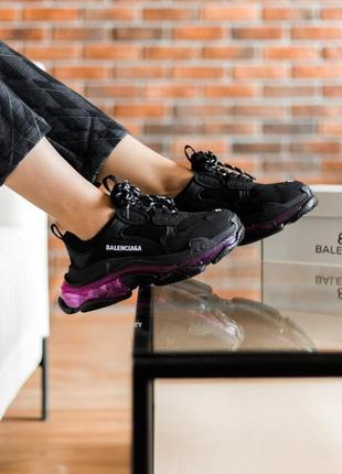 Triples sneaker black neon purple женские кроссовки чёрные/фиолетовые жіночі чорні фіолетові кросівки4 фото