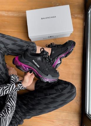 Triples sneaker black neon purple женские кроссовки чёрные/фиолетовые жіночі чорні фіолетові кросівки6 фото